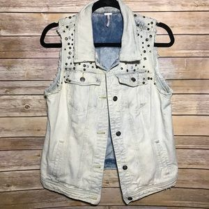 Free People acid wash denim vest studded L